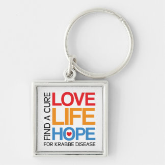 Krabbe disease awareness keyring, find a cure Silver-Colored square key ring