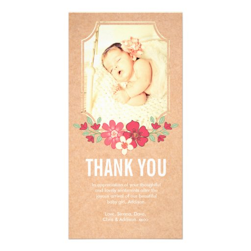 Kraft Baby Girl Thank You Flowers Photo Card