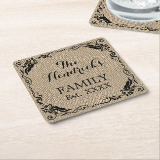 Kraft Beige Brown Faux Jute Texture Family Name Square Paper Coaster