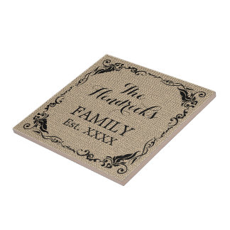 Kraft Beige Brown Faux Jute Texture Family Name Tile