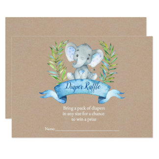 Kraft Boy Rustic Elephant Diaper Raffle Insert Card