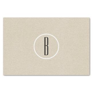 Kraft Brown Chic Monogram Letter Initial Rustic Tissue Paper