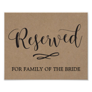Kraft Calligraphy Reserved Seating Wedding Sign