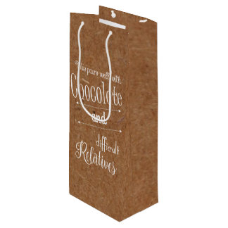 Kraft Chocolate And Wine Bottle Party Gift Bag