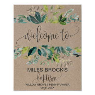Kraft Foliage Baptism Welcome Poster