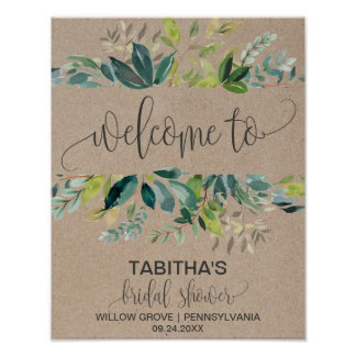 Kraft Foliage Bridal Shower Welcome Poster