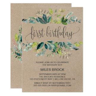 Kraft Foliage First Birthday Card