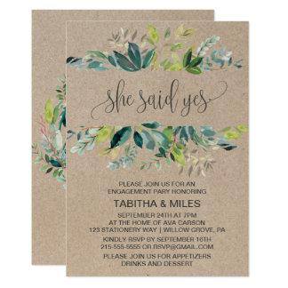 Kraft Foliage She Said Yes Engagement Party Card