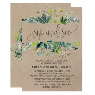 Kraft Foliage Sip and See Card