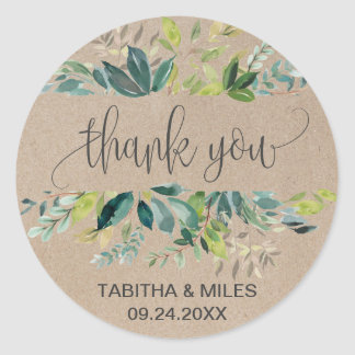 Kraft Foliage Thank You Favor Classic Round Sticker