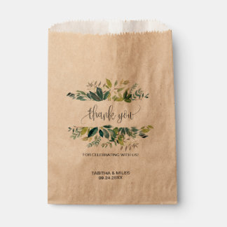 Kraft Foliage Thank You Favour Bag