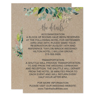 Kraft Foliage Wedding Details Card