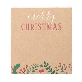 Kraft, Holly & Pine | Merry Christmas Notepad