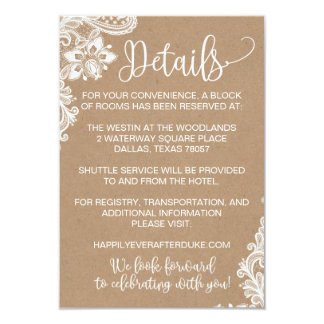 Kraft Lace and Lights Rustic Wedding Detail Card
