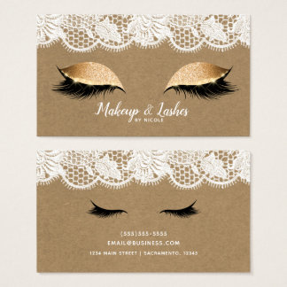 Kraft & Lace Sparkle Makeup Eyelashes Lashes Glam Business Card