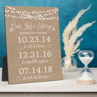 Kraft Lights Our Love Story Timeline Wedding Decor Plaque