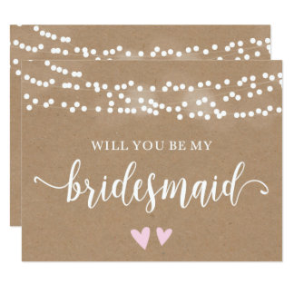 Kraft Lights Will You Be My Bridesmaid Card