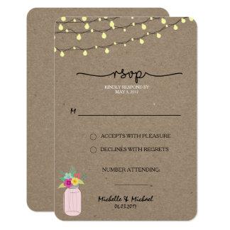 Kraft Mason Jars Stringing Lights Wedding RSVP Card
