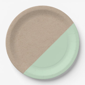 Kraft & mint pastel dipped disposable paper plate