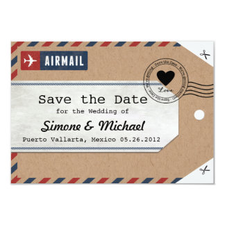 Kraft Paper Airmail Luggage Tag Save the Dates Card
