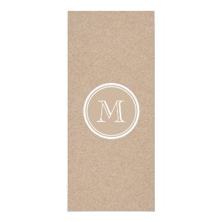 Kraft Paper Background Monogram 4x9.25 Paper Invitation Card