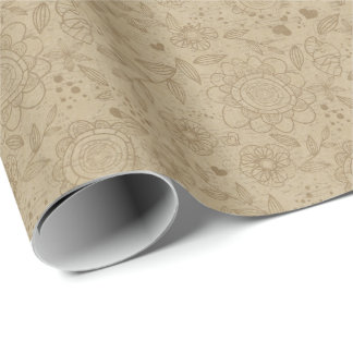 Kraft Paper Floral Wrapping Paper
