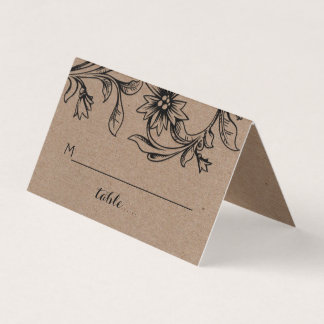 Kraft paper flourish wedding folded escort place card