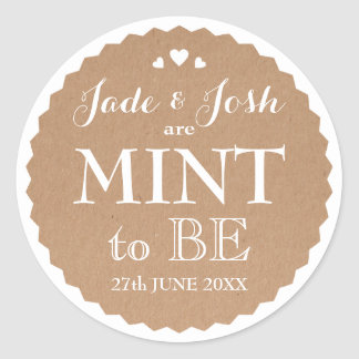 Kraft Paper Hearts Wedding Mint Favor Round Round Sticker