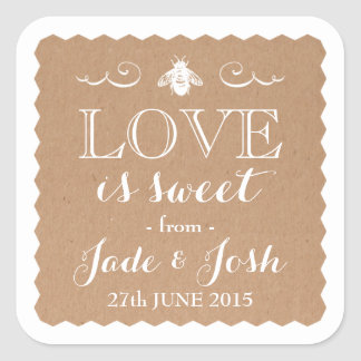 Kraft Paper Honey Bee Wedding Favor Jar Square Sticker