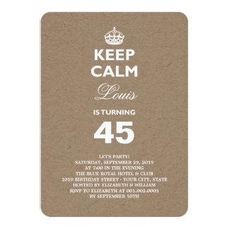 Kraft Paper Keep Calm Funny 50th Birthday Party 11 Cm X 16 Cm Invitation Card