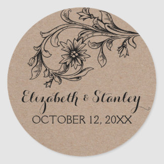 Kraft paper rustic floral wedding Save the Date Round Sticker
