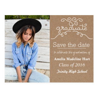 Kraft Paper Script Graduate | Save The Date Photo Postcard