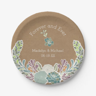 Kraft Paper Succulents Custom Wedding Paper Plates