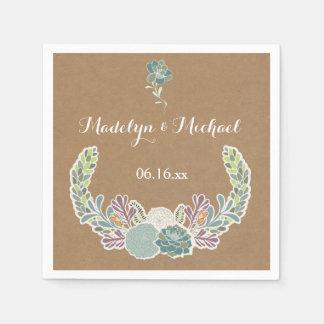 Kraft Paper Succulents Wedding Paper Napkins