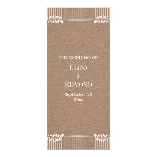Kraft paper wedding program with white leaves personalised rack card