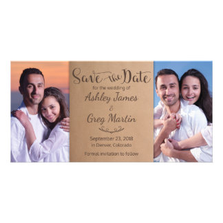 Kraft Rustic Photo Collage Wedding Save the Date Card