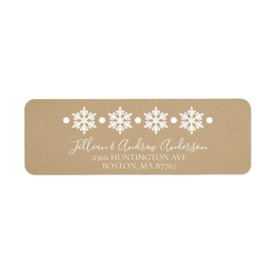 Kraft Snowflakes Winter Address Label