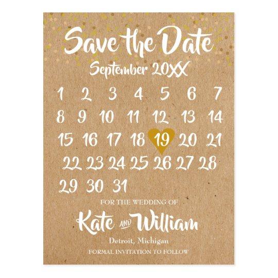 Kraft style Calendar Save the Date Postcard