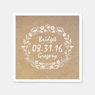 kraft style floral wreath vintage wedding disposable napkin