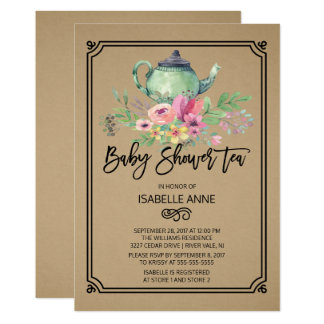 Kraft Watercolor Floral Tea Party Baby Shower Card