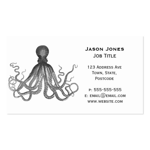 Kraken - Black Giant Octopus / Cthulu Business Card Template