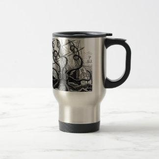 Kraken/Octopus Eatting A Pirate Ship, Black/White Coffee Mugs