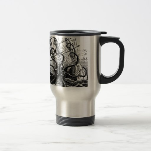 Kraken/Octopus Eatting A Pirate Ship, Black/White Coffee Mugs