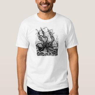 Kraken/Octopus Eatting A Pirate Ship, Black/White Shirts
