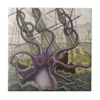 Kraken/Octopus Eatting A Pirate Ship, Color Small Square Tile