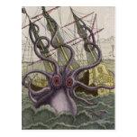 Kraken/Octopus Eatting A Pirate Ship, Colour Postcard