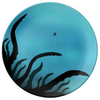 Kraken of the deep porcelain plates