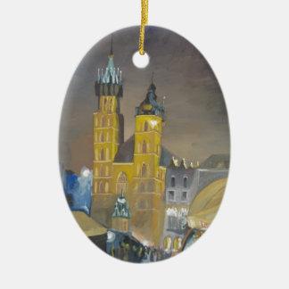 Krakow at night ceramic ornament