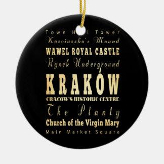 Kraków City of Poland Typography Art Ceramic Ornament