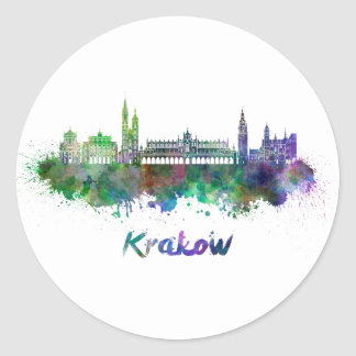 Krakow skyline in watercolor classic round sticker